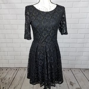 By&By Little Black Lace Dress with Gold